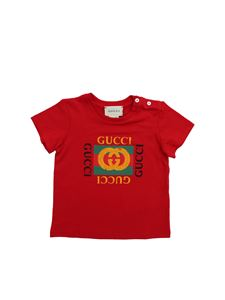 Gucci - T-shirt in red with Gucci print
