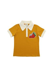 Gucci - Polo color senape con patch fragola