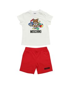 Moschino Kids - Playful Teddy Bear set in white and red