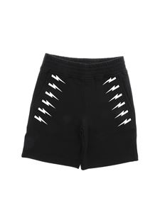Neil Barrett Kids - Bermuda in black with Bolt print