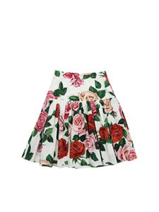 Dolce & Gabbana Jr - Gonna bianca con stampa rose