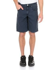 Jacob Cohën - 5 pockets bermuda in blue with logo