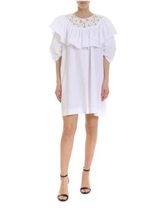 N° 21 - Dress in white with rebrodé lace neckline
