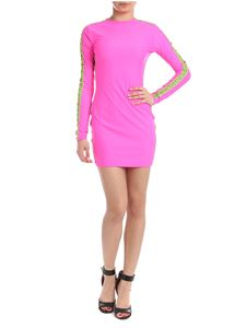 GCDS - Dress in fluo pink with contrasting logo details