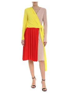 MSGM - Dress in red yellow and nude