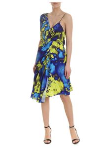 MSGM - Pleated dress in blue and yellow