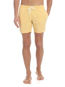 Lacoste - Checkered boxer swimsuit in yellow