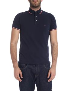 Tommy Hilfiger - Tipped polo in blue with logo embroidery