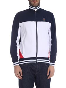 Fila - Funnel Neck Track sweatshirt in white and blue