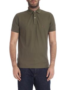 Tommy Hilfiger - Military green polo with logo embroidery