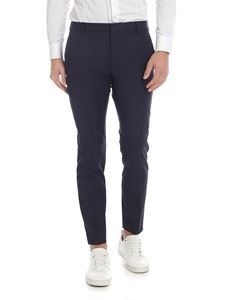 Calvin Klein - Blue melange trousers with checked motif