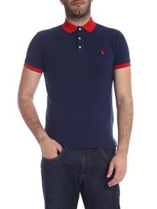 POLO Ralph Lauren - Slim Fit polo in blue with red logo embroidery