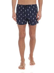Neil Barrett - Bolt printed swimsuit in blue
