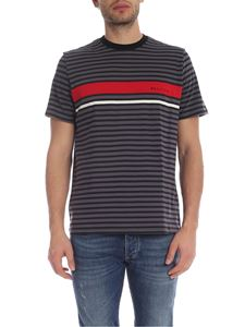 PS by Paul Smith - T-shirt a righe nere e grigie con logo