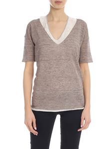 Fabiana Filippi - T-shirt in dove-grey color with contrasting inner top