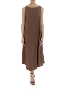 Fabiana Filippi - Dress in brown linen and cotton with micro-beads