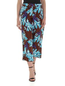 Parosh - Floral pants in brown