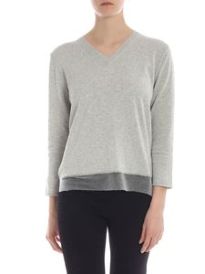 Fabiana Filippi - Pullover in grey melange with micro-beaded details
