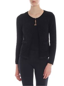 Blugirl - Black lamé cardigan with fringes detail