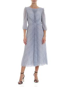 Luisa Beccaria - Blue and beige dress with floral pattern