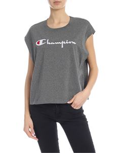 Champion - Melange grey top with logo embroidery