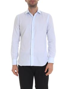 Barba - Micro-striped shirt in light blue and white