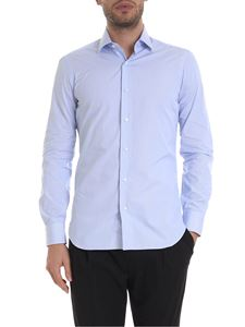 Barba - Micro-striped shirt in white and light blue