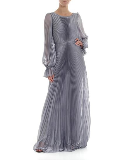 Luisa Beccaria - Pleated dress in pearly grey