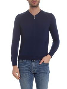 Barba - Cardigan blu con zip