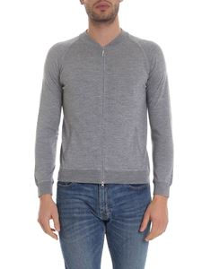 Barba - Zipped cardigan in melange gray