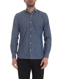 Barba - Shirt in melange blue