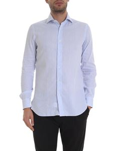 Barba - Striped cotton shirt in light blue