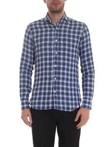 Barba - Checkered pattern shirt in shades of blue