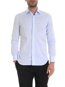 Barba - Micro-striped shirt in light blue