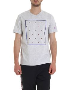 Champion - Multi-logo print T-shirt in gray