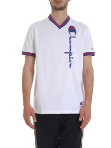 Champion - Technical fabric T-shirt in white with logo
