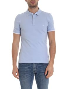 Fay - Embroidered logo polo in light blue