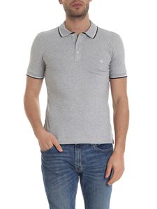 Fay - Polo in gray with blue and white edges