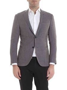 be64a76b3b7ac1 Corneliani - Virgin wool and linen jacket in blue and brown