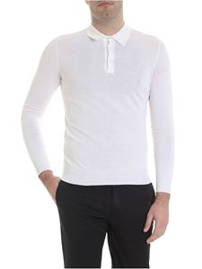 Boglioli - Long sleeve polo in white