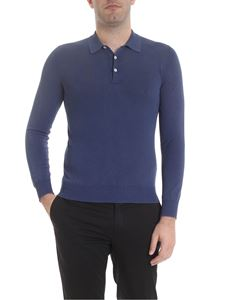 Boglioli - Long sleeve polo in blue