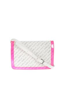 Gaelle Paris - Monogram shoulder bag in white and fucshia