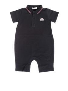 Moncler Jr - Rompersuit in blue cotton
