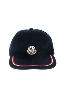 Moncler - Blue hat with logo and red and white embroidery