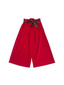 Fendi Jr - Cropped pants in red with FF belt