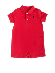 Ralph Lauren - Red cotton rompersuit with logo
