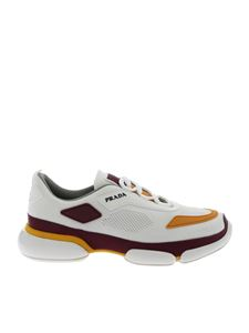 Prada - Sport Knit sneakers in white and burgundy