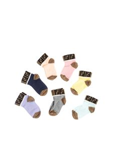 Fendi Jr - 7 pairs of multicolor cotton socks