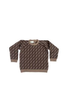 Fendi Jr - FF cashmere and cotton pullover in tobacco color