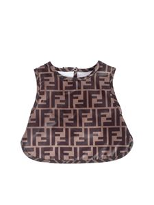 Fendi Jr - Bunx jacquard FF bib in tobacco color